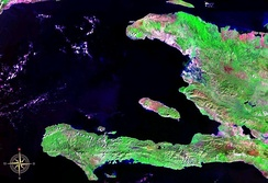 An enlargeable false colour satellite image of Haiti