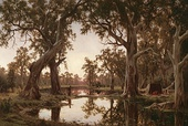 H. J. Johnstone, Evening shadows, backwater of the Murray, South Australia, 1880