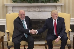 US President Donald Trump with Iraqi Prime Minister Haider al-Abadi in 2017.