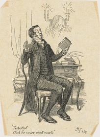 Illustration by Hugh Thomson representing Mr. Collins, protesting that he never reads novels