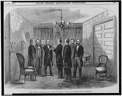 Contemporary woodcut of Johnson being sworn in by Chief Justice Chase as Cabinet members look on, April 15, 1865