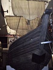 A 17th-century koch in a museum in Krasnoyarsk. Kochi were the earliest icebreakers and were widely used by Russians in the Arctic and on Siberian rivers.