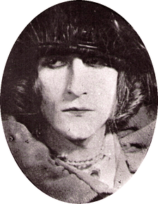 "Rrose Sélavy (Marcel Duchamp), 1921 photograph by Man Ray, art direction by Marcel Duchamp, silver print, 5-7/8"" × 3""-7/8"", Philadelphia Museum of Art"