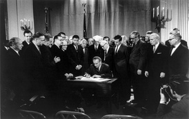 President Johnson signing the Civil Rights Act of 1968