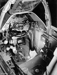 View of a P-38G cockpit. Note the yoke, rather than the more-usual stick.