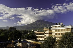 Mt. Meru in the background of the City of Arusha