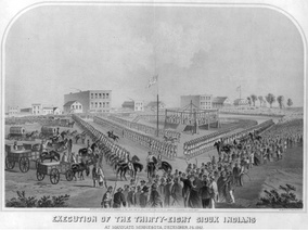 Drawing of the mass hanging of Dakota in Mankato, Minnesota