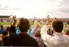 Fans invading the track at Copse Corner following Nigel Mansell's victory.