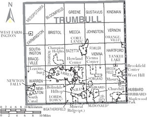 Map of Trumbull County, Ohio with municipal and township labels