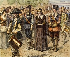Quaker Mary Dyer led to execution on Boston Common, 1 June 1660, by an unknown 19th century artist