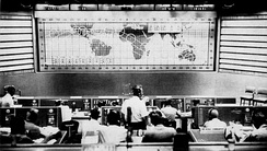 View of Mission Control during the Mercury-Atlas 6 mission