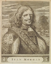 Henry Morgan who sacked and burned the city of Panama in 1671 – the second most important city in the Spanish New World at the time; engraving from 1681 Spanish edition of Alexandre Exquemelin's The Buccaneers of America
