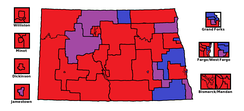 The North Dakota State House by district (as of 2016). Red is 2 Republicans, blue is 2 Democrats/NPL, and purple is one of each