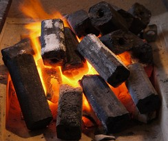 Ogatan, charcoal briquettes made from sawdust
