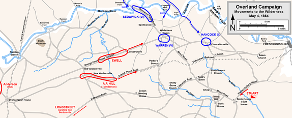 Start of the Overland Campaign, May 4, 1864: Movement into the Wilderness.   Confederate   Union
