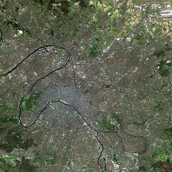 Paris and its suburbs, as seen from the Spot Satellite