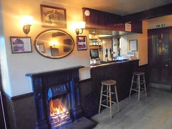 Interior of the Railway Inn in Spofforth, North Yorkshire showing decoration typical of Samuel Smiths pubs