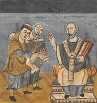 A Carolingian manuscript, c. 840, depicting Rabanus Maurus (left), supported by Alcuin (middle), presenting his work to Otgar of Mainz