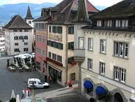 Rathaus Rapperswil and Hauptplatz (main square) as seen from nearby Liebfrauenkapelle respectively Rapperswil Castle