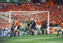 Netherlands at Euro 96 in a match against Scotland at the Villa Park stadium in Birmingham, England.