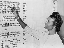 Chisholm reviewing political statistics in 1965