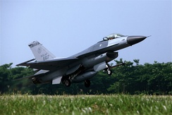 ROCAF F-16 takes off from Chiayi Airbase in Southern Taiwan. These jets patrol the boundary in the strait across from China.
