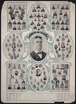 Ban Johnson (center) surrounded by the individual portraits of the eight American League teams