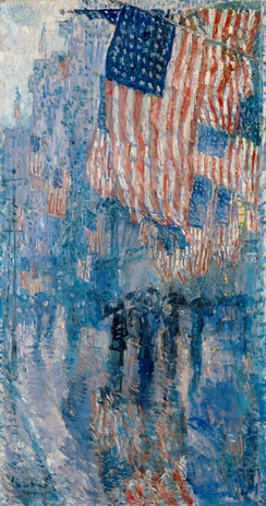 The Avenue in the Rain, oil on canvas, 1917. The White House