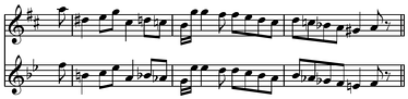 Transposition example from Koch[1] Play top (help·info) Play bottom (help·info). In this chromatic transposition, the melody on the first line is in the key of D, while the melody on the second line is identical except that it is a major third lower, in the key of B♭.