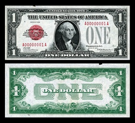 The first small-size $1 United States Banknote printed.