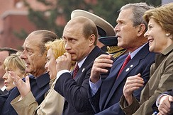 President Bush at the celebration of the sixtieth anniversary of victory in World War II, Red Square, Moscow