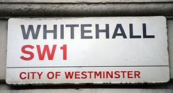 Whitehall is a road in the City of Westminster, London used synecdochically to refer to the entire UK civil service, as many government departments are nearby.