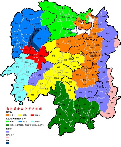 Language map of Hunan Province. New Xiang is orange, Old Xiang yellow, and Chen-Xu Xiang red. Non-Xiang languages are (clockwise from top right) Gan (purple), Hakka (pink along the right), Xiangnan Tuhua (dark green), Waxianghua (dark blue on the left), and Southwestern Mandarin (light blue, medium blue, light green on the left; part of dark green).