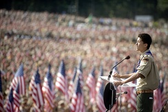 Anthony Thomas, the two millionth Eagle Scout, addresses a crowd of over 45,000 Scouts at the 2010 National Scout Jamboree, held at Fort A.P. Hill, Virginia.