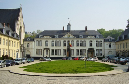 View from the cour d'honneur (main courtyard) of La Cambre Abbey in Ixelles