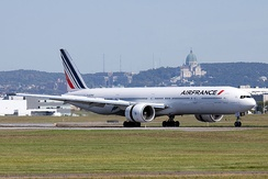 Air France Boeing 777-300ER in the new livery landing at Montreal-Trudeau.