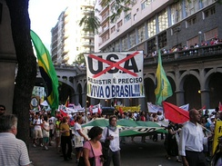 Anti-U.S. banner in a demonstration in Brazil, 27 January 2005