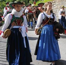Traditional long-skirted dirndls from Lienz in Tyrol, Austria, 2015