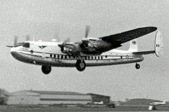 Air Charter York taking off from London Stansted in 1955 on a trooping flight to the Suez Canal Zone