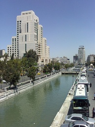 One of the rare periods the Barada river is high, seen here next to the Four Seasons hotel in downtown Damascus