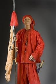 Wax model of a Boxer, armed with a spear and sword. Model by George S. Stuart.