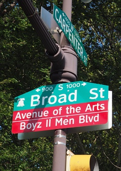 "Broad Street in Philadelphia, from Christian to Carpenter Streets, was renamed, ""Boyz II Men Boulevard."""