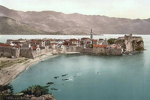 The Venetian walls of Budua (Budva) on a 1900 postcard