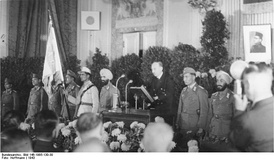 National celebration at the founding of the Provisional National Indian government at the Free India Center, Berlin, with Secretary of State Wilhelm Keppler speaking, on 16 November 1943