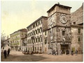 "Postcard of Old Cattaro, showing typical venetian architecture buildings and the ""Clock tower"""