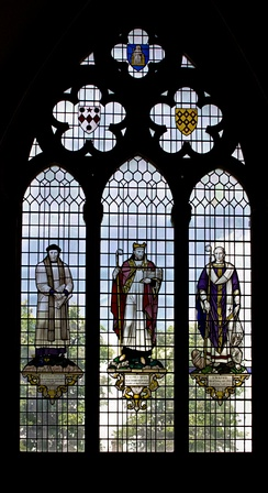Stained glass window in Chichester Cathedral depicting Reginald Peacock, Ralph of Luffa and Wilfrid, all Bishops of Chichester