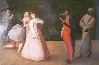 Commedia dell'arte troupe I Gelosi in a late 16th-century Flemish painting