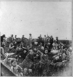 Settlers escaping the violence, 1862