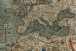 Map of Europe and the Mediterranean from the Catalan Atlas of 1375