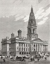 19th century views of other public buildings which take their architecture from the legacy of Brodrick's Leeds Town Hall. Clockwise from top left: New York State Capitol, Philadelphia City Hall, Portsmouth Guildhall, Parliament House, Melbourne, Bolton Town Hall.
